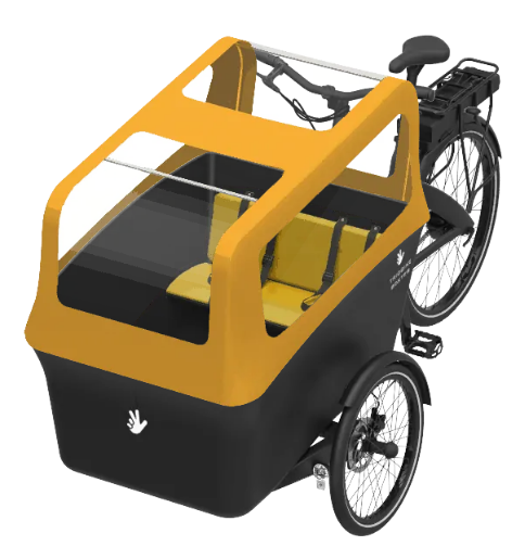 Triobike-Boxter-AMARILLO-2-niños-electrica-bicicleta-beebike